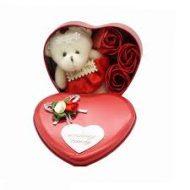 خرید ارزان جعبه فلزی قلبی گل و خرس
