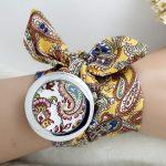 خرید ساعت زنانه گلدار بند پارچه ای